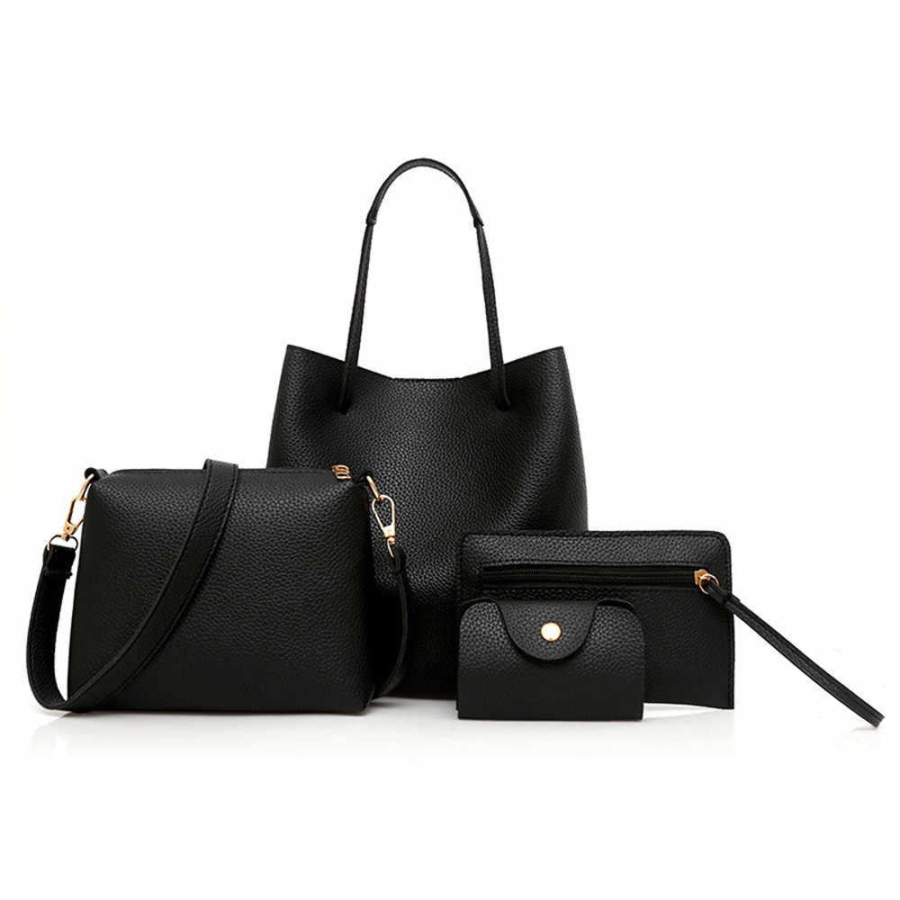 4Pcs Frauen PU Leder Handtasche + Umhängetasche + Umhängetasche + Karte Paket solide zipper Damen handtaschen set brieftasche bolso mujer