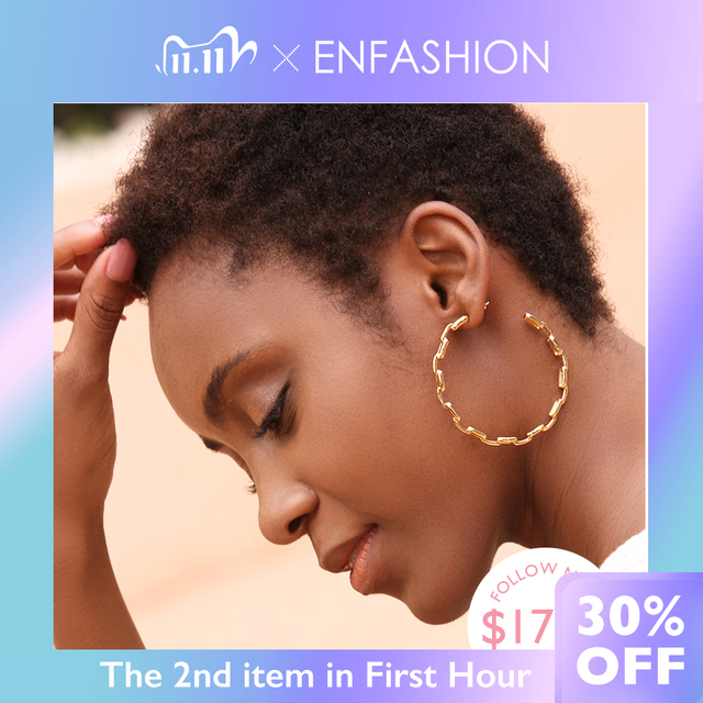 Enfashion Pure Form Link Chain Hoop Earrings For Women Big Circle Hoops Gold Color Earings Jewelry Aros Orecchini Cerchio EF1083