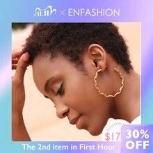 Enfashion forma pura link corrente hoop brincos para mulher grande círculo aros cor do ouro brincos jóias aros orecchini cerchio ef1083
