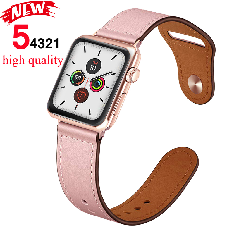 Strap For Apple Watch Band 5 4 44mm 40mm Genuine Leather Correa Watchband Iwatch 3/2 42mm 38mm Bracelet Apple Watch Accessories