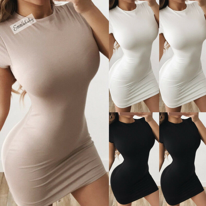Women Summer Short Sleeve Bandage Bodycon Sexy Party Cocktail Club Pencil Dress