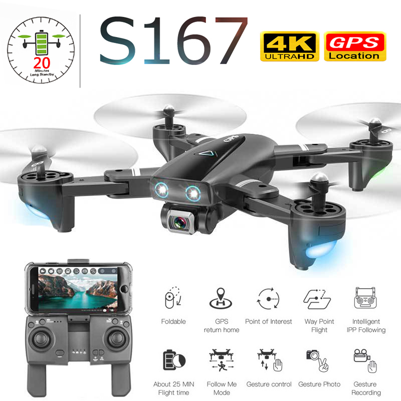 New 5G WIFI 4K Drone Camera HD FPV Quadrocopter Gesture Photos Video Flight 20 Minutes RC Helicopter Profissional GPS Drone Dron