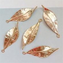 10 pces 16mm * 48mm moda liga de metal kc ouro deixa pingente charme para fazer jóias
