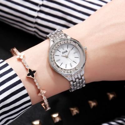 Fashion Womens Watch Tungsten Steel Women Watches Rose Gold Chinese English Calendar Quartz Clock Waterproof Watch in Quartz Watches from Watches
