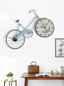 Criativo grande relógio de parede metal mediterrâneo bicicleta relógios led silencioso sala estar decorações parede reloj presente aniversário sc648