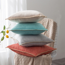 Solid Linen Cushion Cover Blue Grey Yellow Red Green Fringe Pillow Case for Home Decoration Sofa Bed  45x45cm