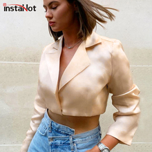 InstaHot Apricot Elegant Blouse Women Satin shirt Long Sleeve Notched Office Lady Autumn Summer Crop Top Modern 2019 New