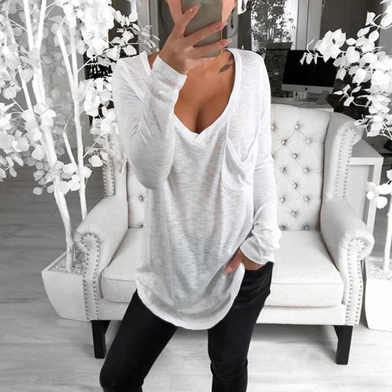 Новинка 2019, женская футболка большого размера с длинным рукавом, Осенние Топы, повседневная однотонная одежда Harajuku с v-образным вырезом, зимняя женская футболка