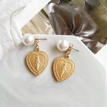 цены Virgin Mary Earrings Heart Gold Color Trendy Religious Jewelry Gifts Geometric Imitation Pearl Cross Drop Earrings