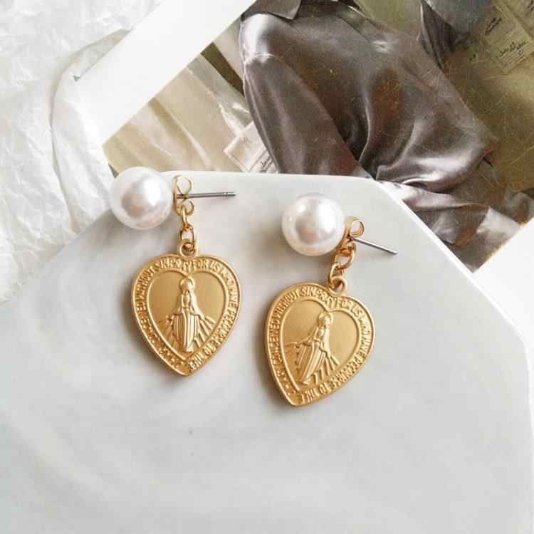 Virgin Mary Earrings Heart Gold Color Trendy Religious Jewelry Gifts Geometric Imitation Pearl Cross Drop Earrings