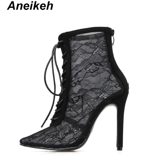 Aneikeh Black Mesh Women's Boots Fashion Pointed Toe Lace-up High Heels Women Transparent Ankle Boots Female Sandals Pumps Dress 2