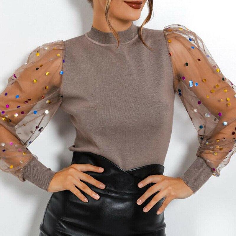Camisa con retazos calada de encaje elegante para mujer, a la moda abombada Jersey de manga, Tops estriado, Blusa Sexy de malla transparente de lunares para mujer