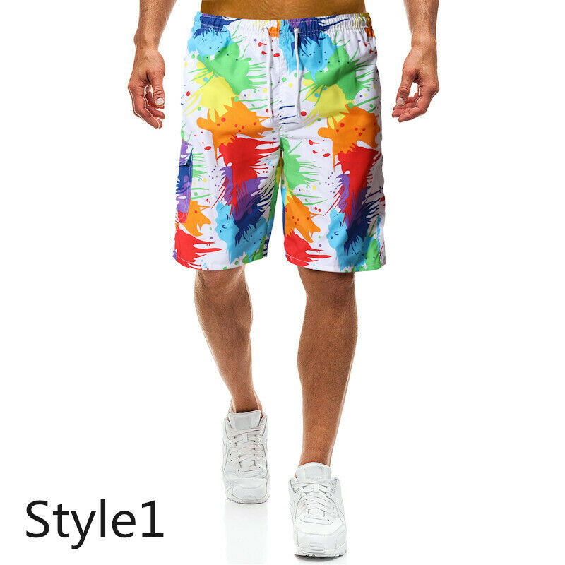2019 New Fashion Mens Swimming Board Shorts Swim Shorts Trunks Swimwear Beach Summer Casual Men Beach Colorful Shorts Thin Print