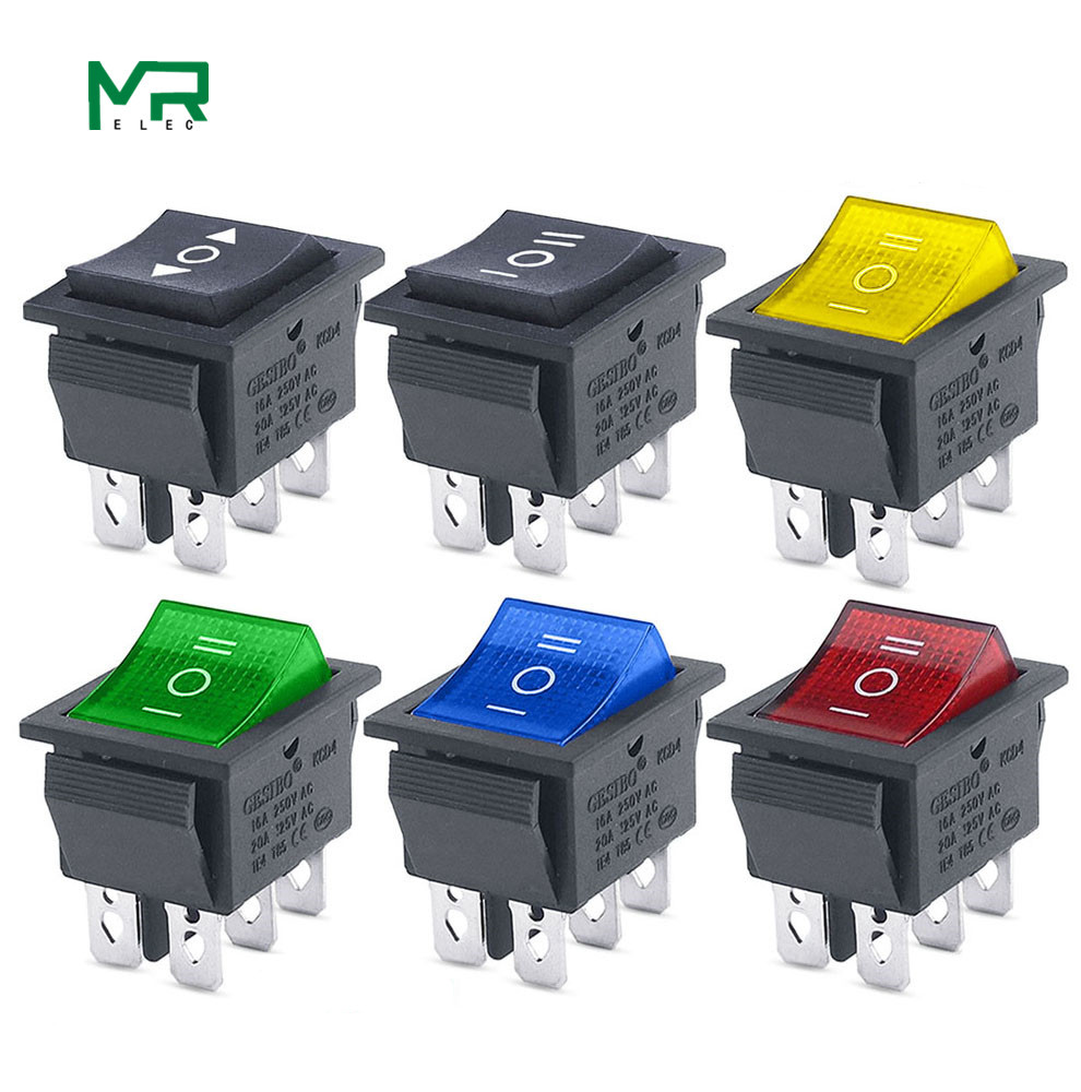 KCD4 1PCS Rocker Switch Power Switch ON-OFF-ON 3 Position 6 Electrical Equipment With Light Switch 16A 250VAC/ 20A 125VA