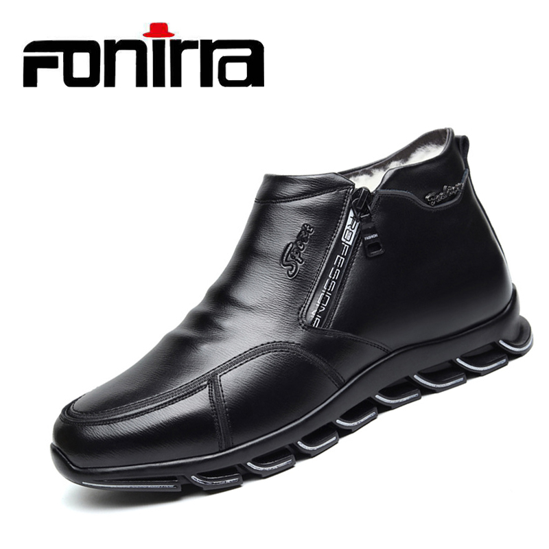Logical Fonirra Men Casual Winter Sneaker Leather Boots Wool And Cotton Men Fur Leisure High-top Shoes Plus Velvet Warm Men's Shoes 366 Sale Overall Discount 50-70%