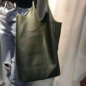 Image 5 - جلد طبيعي حقائب كتف حقيبة يد امرأة Vintage جلد البقر مركب حمل حقيبة تسوق حقائب عالية الجودة الكلاسيكية