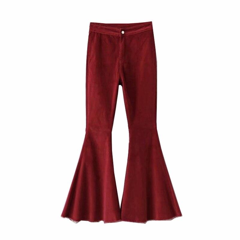 2019 High Waist Ladies Boyfriend Corduroy Flared Pants For Women Bell Bottom Female Red Pants Skinny Trousers