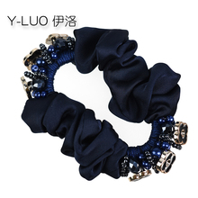 Women headband flower hairband vintage elastic hair bands beads hair accessories for girls vintage faux gem cirrus flower hairband for women