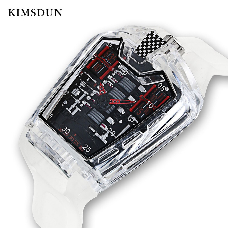 KIMSDUN Men's Fashion Trend Personality Classic Quartz Watch Luxury Racing Free Silicone Strap Clock Transparent Movemen Relogio