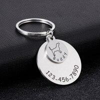 Schöne Tier Haustiere Tag KeyChain Personalisierte mit Name Telefon ID Gravierte für Nette Haustier Hund Katze Anti-verloren Schlüsselanhänger zubehör