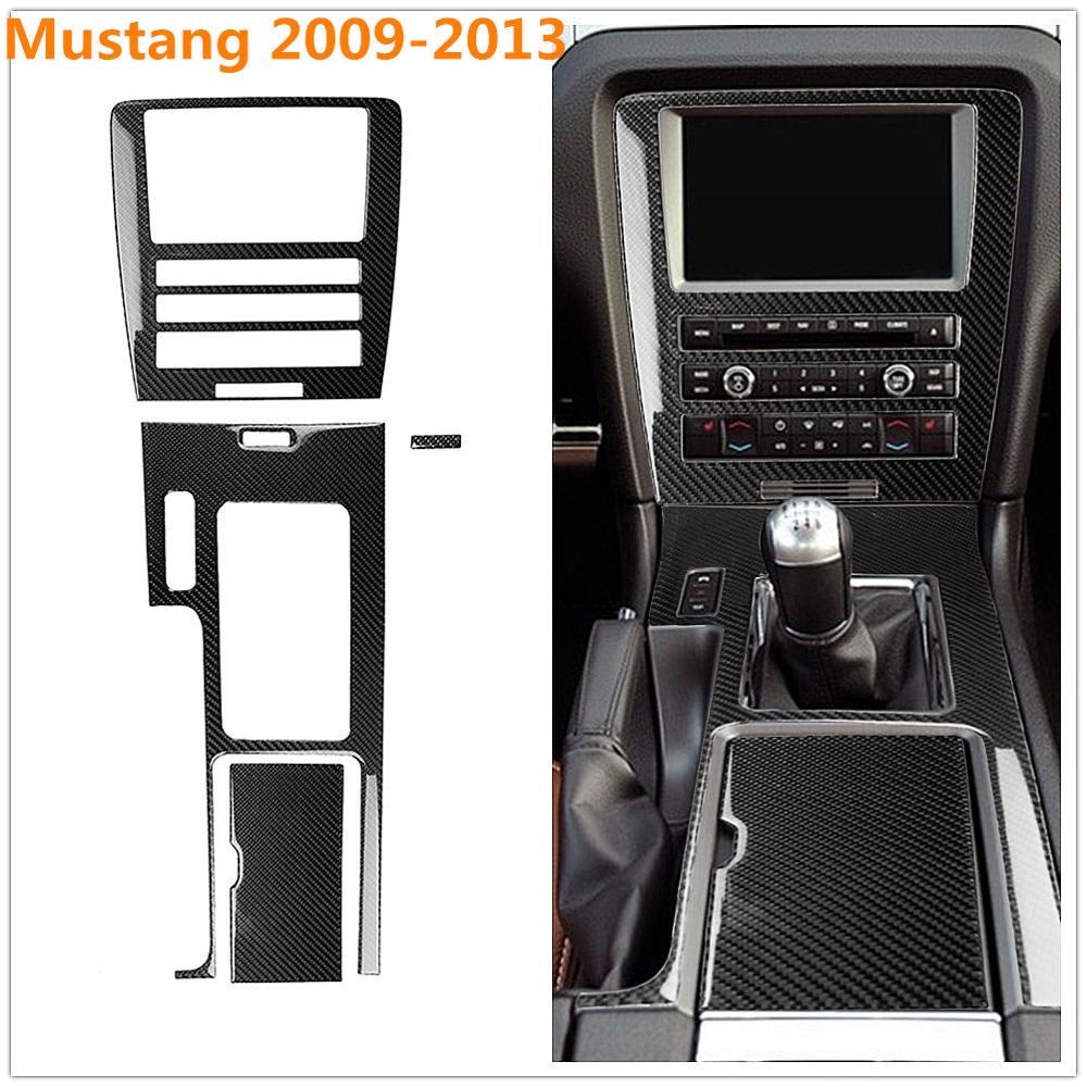 For Ford Mustang 2009-2013 Carbon Fiber Cup Cover Storage Box Navigation Middle Control Gear Shift Modification Sticker