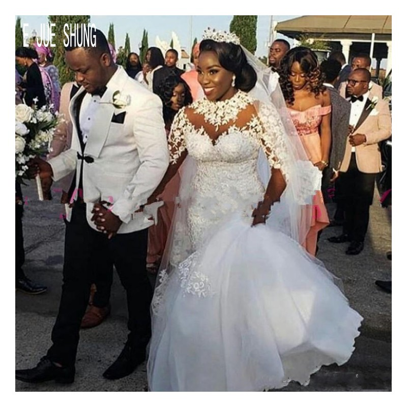 E JUE SHUNG African Lace Mermaid Wedding Dresses High Collar Long Sleeves Bridal Gowns Appliques Pearls Robe De Mariee