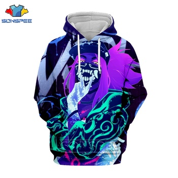 League Of Legends 3d Print Sexy Akali Men hoodies Women Fashion Hoodie LOL Game Character Psychedelic Hoody Breathable  Pullover 1