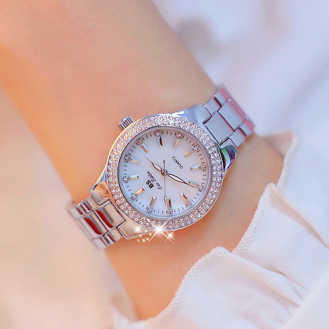 2019 Luxury Brand lady Crystal Watch Women Dress Watch Fashion Rose Gold Quartz Watches Female Stainless Steel Wristwatches 5