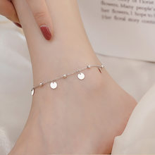 Chaîne de cheville avec pompon en argent Sterling 925, perle ronde, pendentif, lien, bijoux à la mode pour femmes sl202