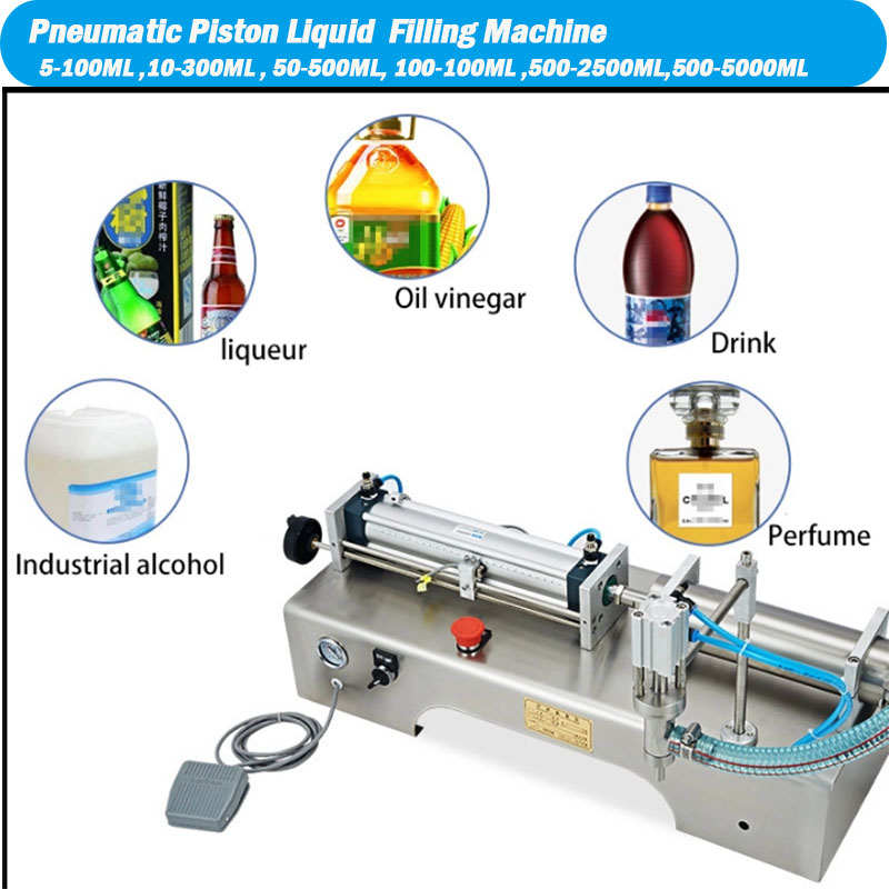 Pneumatic Piston Liquid Filler Shampoo Gel Water Wine Milk Juice Vinegar Coffee Oil Drink Detergent Filling Machine