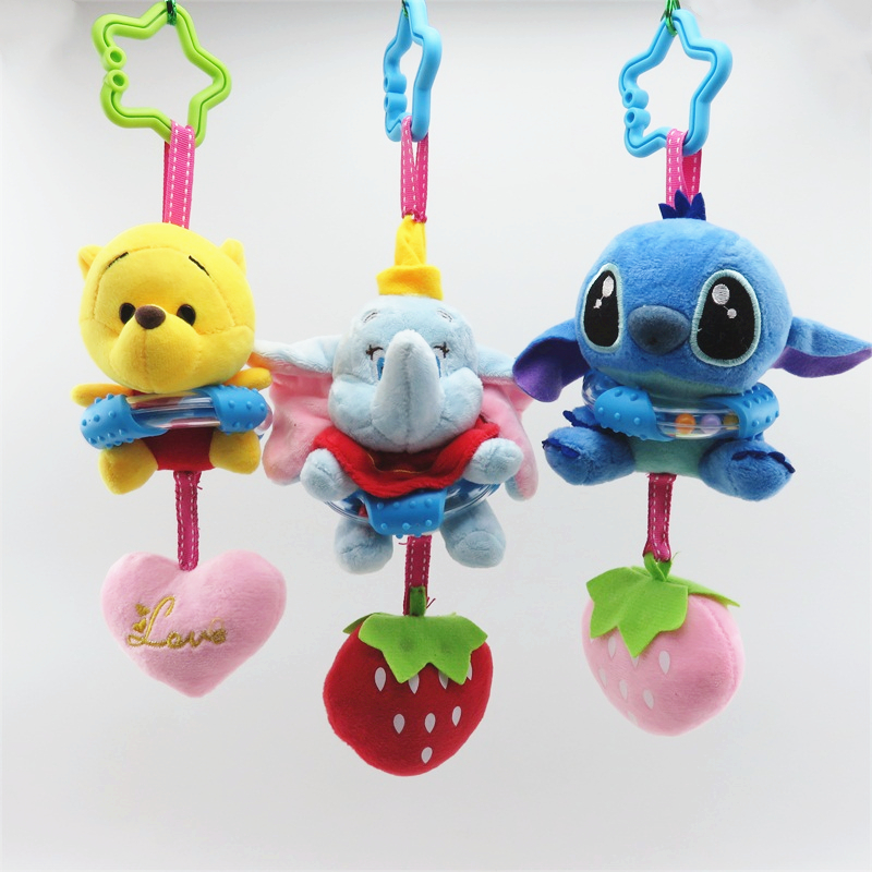 Cartoon Stitch Elephant Donkey Panda Plush Toy Baby Rattle Hand Bell Baby Stroller Crib Hanging Rattles Christmas Birthday Gifts