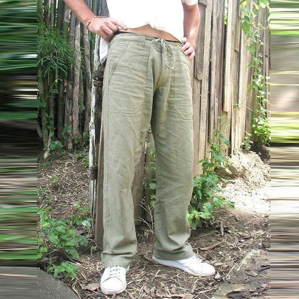 Litthing Mens Nature Cotton Linen Trousers Summer Pants 5XL Casual Male Solid Elastic Waist Straight Loose Pants Plus Size