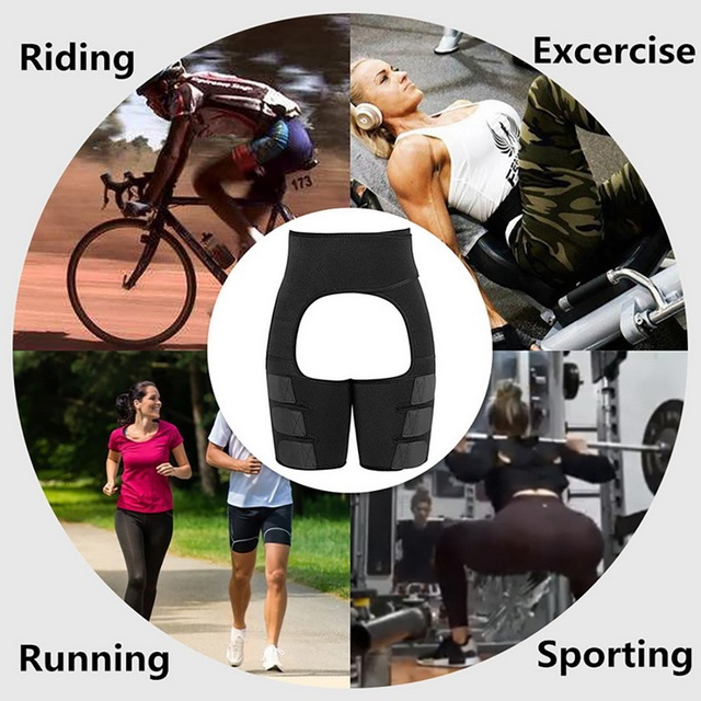 Women High Waist Thigh Trimmer Neoprene Sweat Shapewear Slimming Leg Body Shapers Adjustable Waist Trainer Slimming Belt Fitness 3