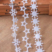 5 jardas 25/35mm fitas não tecidas tecido estrela floco de neve guarnição rendas diy artesanato pendurado ano novo decoração da árvore de natal b1209