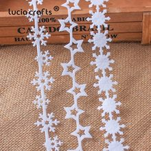 5yards 25/35mm Non woven Ribbons Fabric Star Snowflake Trim Lace DIY Crafts Hanging New Year Christmas Tree Decoration B1209