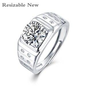 925 Sterling Silver Men Moissanite Ring 2ct Resizable klasyczny modny styl biżuteria na rocznicę ślubu dla mężczyzn z certyfikatem