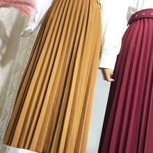 Midi Skirts BELTED Faldas Saia Pleated Vintage High-Waist Fashion Casual 11-Colors Simple