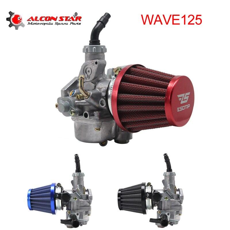 Alconstar Alüminyum Motosiklet Keihin Karbüratör Carb Karboretor Karb Honda WAVE 125 için WAVE125 W125 ile 42mm Hava Filtresi yarış