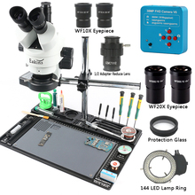 Microscopio Trinocular focal de 38MP, 2K, 1080P, HDMI, USB, cámara 3,5 90X, estéreo, adaptador de CTV 1/2, plataforma de mantenimiento de reparación