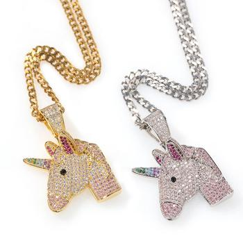 Unicorn Pendant Full Of Zircon  Fashionable Men Hip Hop Gold Silver Color  Rainbow Hip Hop In Crystal Chain Necklace For Men lklrywbd popular color unicorn necklace unicorn round pendant necklace
