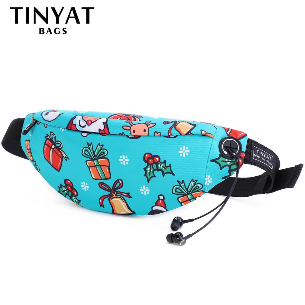 TINYAT Women Waist Bag Pack Gift Bags Cartoon Christmas Xmas Pack Package Casual Travel Girl Belt Bag Pack For Phone Money Hip