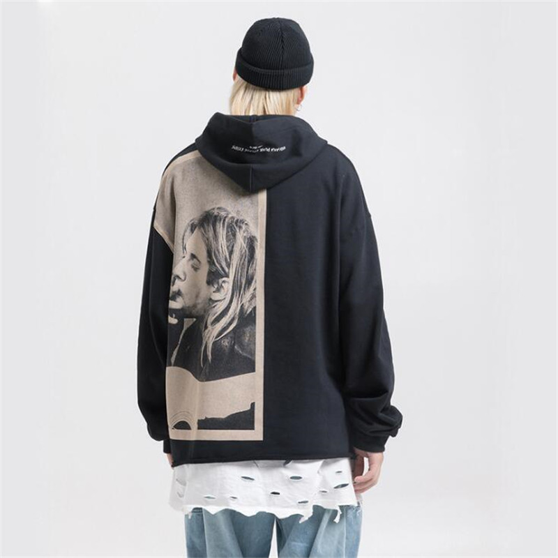 NAGRI Kurt Cobain Print Hoodies Men Hip Hop Casual Punk Rock Pullover Hooded Sweatshirts Streetwear 2019 Fashion Hoodie Tops
