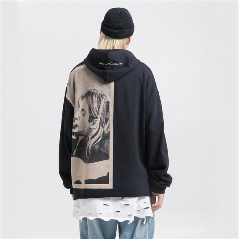 NAGRI Kurt Cobain Print Hoodies Men Hip Hop Casual Punk Rock Pullover Hooded Sweatshirts Streetwear 2019 Fashion Hoodie Tops