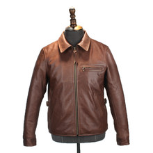 Free shipping.Brand US oil wax cowhide biker coat,mens slim genuine leather Jacket,vintage casual style jacket,classic 1930(China)