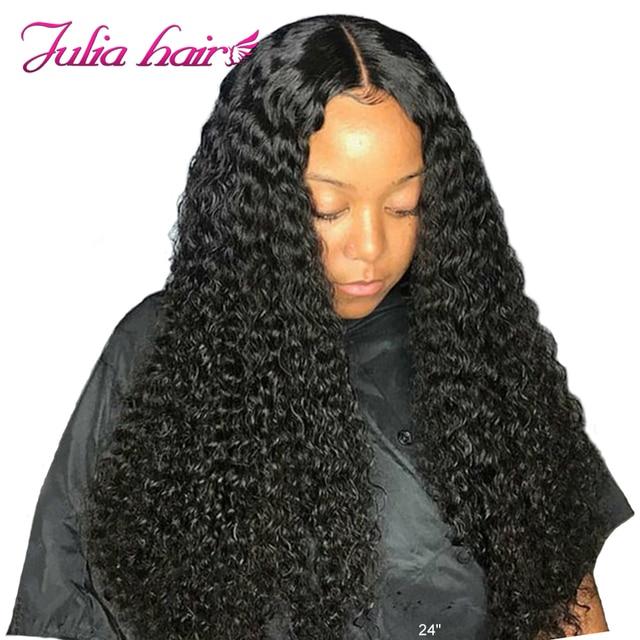 Brazylijski kręcone koronkowa peruka na przód wstępnie oskubane Remy 13x6 koronki przodu peruki z ludzkich włosów 150/180 gęstości Julia 13x4 kręcone koronkowa peruka na przód