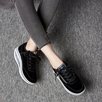 New Winter Women Outdoor Fitness Shoes Lace Up Wedge Sneakers Body Shaping Sport Slimming Shoes