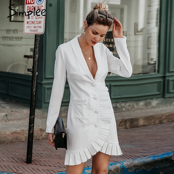 Simplee Sexy v-neck women blazer dress Elegant signal breasted frill white office dress Party style ladies pockets mini dresses
