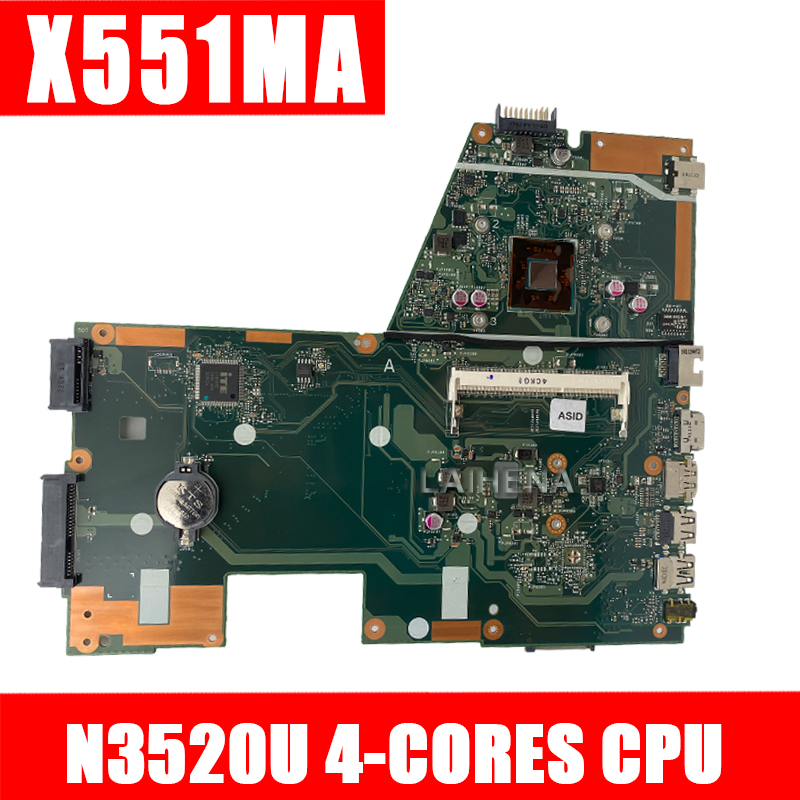 NEW X551MA For ASUS Laptop Motherboard N3520U X551MA REV2.0 Motherboard 100% Fully Tested 60NB0480-MB2200-201