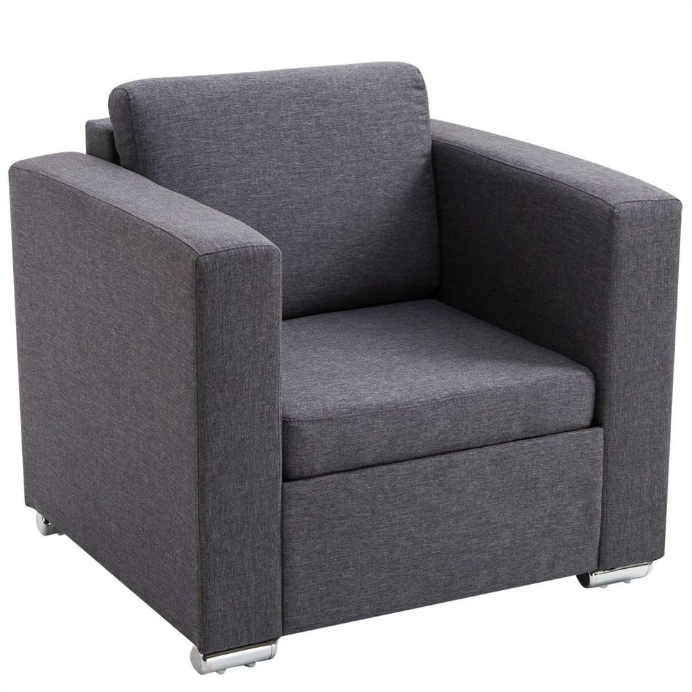 HOMCOM Armchair Bedroom Lounge Relax Elegant Modern Fabric Padded 81 × 73 × 78cm Dark Gray