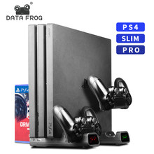 3 In 1 Voor PS4/PS4 Slim/PS4 Pro Verticale Stand Met Dual Controller Charger Station Games Voor sony Playstation 4 Koelventilator(China)
